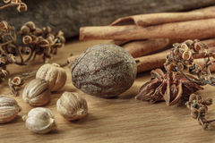 Cooking ingredients on wood background,seasoning, Royalty Free Stock Photos