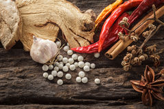 Cooking ingredients on wood background,spice Stock Photography