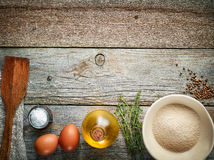 Cooking ingredients on wooden table Stock Photography