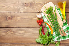 Cooking ingredients on wooden table Royalty Free Stock Photo