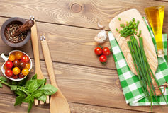 Cooking ingredients on wooden table Royalty Free Stock Photography
