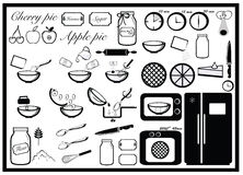 Cooking instruction, baking pie. Baking pie set, cooking instruction Royalty Free Stock Photo