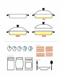 Cooking instruction in roasting pan. Set to manual on preparation. Includes packaging and products: pasta and shrimp, rice and ri. Gatony. Infographics royalty free illustration