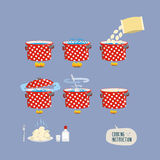 Cooking instructions. Infographics of cooking dumplings. Vector Stock Photo