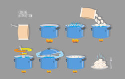 Cooking instructions. Infographics of cooking dumplings. Vector. Icons set Royalty Free Stock Photography