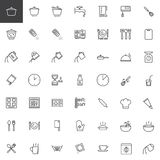 Cooking instructions line icons set. Outline vector symbol collection, linear style pictogram pack. Signs, logo illustration. Set includes icons as cooking Stock Photos