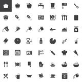 Cooking instructions vector icons set. Modern solid symbol collection, filled style pictogram pack. Signs, logo illustration. Set includes icons as cooking Royalty Free Stock Photos