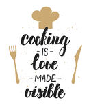 Cooking Is Love Made Visible. Handwritten Lettering. Royalty Free Stock Photos