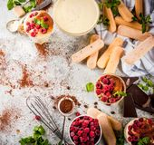 Tiramisu with mint and raspberries. Cooking Italian food dessert Tiramisu, with all the necessary ingredients cocoa, coffee, mascarpone cheese, mint and Royalty Free Stock Images