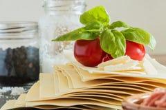 Cooking italian food pasta lasagne bolognese ingredients Stock Image