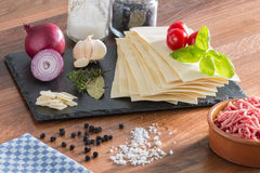 Cooking italian food pasta lasagne bolognese ingredients Royalty Free Stock Images