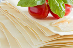 Cooking italian food pasta lasagne bolognese ingredients Royalty Free Stock Image