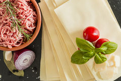 Cooking italian food pasta lasagne bolognese ingredients Royalty Free Stock Photos
