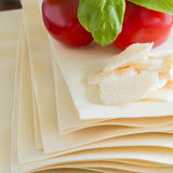 Cooking italian food pasta lasagne bolognese ingredients Stock Photos