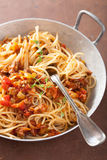 Cooking italian pasta spaghetti bolognese Royalty Free Stock Images
