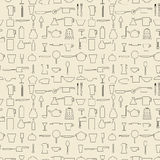 Cooking items linear set seamless texture Royalty Free Stock Images