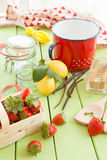 Cooking jam with fresh strawberries Royalty Free Stock Photography