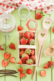 Cooking jam with fresh strawberries Royalty Free Stock Images