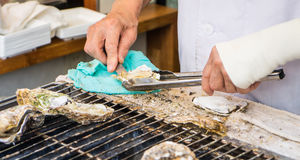 Cooking Japanese grilled Oysters Royalty Free Stock Images