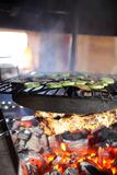 Cooking of kebab and vegetable Royalty Free Stock Photos