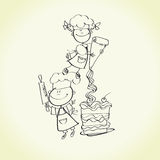 Cooking kids Royalty Free Stock Images