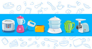 Cooking, kitchen appliances, sketch. Vector illustration Stock Photos