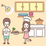 Cooking in the kitchen cartoon Stock Images