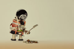 Cooking kitchen chef character with fork knife and abstract breakfast. Food menu concept with friendly robot, black Royalty Free Stock Images