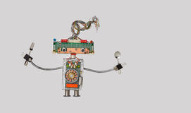 Free Cooking Kitchen Chef Fork And Spoon In Arms. Funny Toy Robot For Restaurant Food Menu Advertising Poster. Cyborg Made Royalty Free Stock Images - 94006699