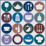 Cooking and kitchen dishes icons Royalty Free Stock Photo