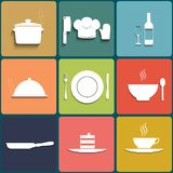 Cooking and kitchen icons. Set in Flat Design Stock Photography