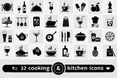 Cooking and kitchen icons set Royalty Free Stock Images