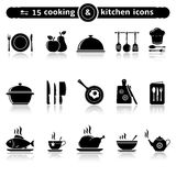 Cooking and kitchen icons. Set of 15 cooking and kitchen icons. Vector illustration royalty free illustration