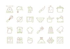 Cooking kitchen items. Knife pan spoons and forks cuisine tools microwave electronic scale vector thin line icons stock illustration