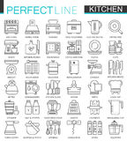Cooking and kitchen outline concept symbols. Perfect thin line icons. Modern linear stroke style illustrations set. Stock Images