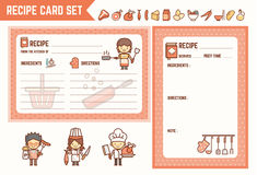 Cooking and kitchen recipe card set Stock Photos