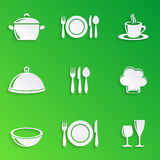 Cooking and kitchen restaurant menu icons Stock Photography