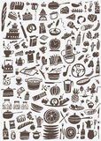 Cooking and kitchen tools doodles Royalty Free Stock Photography