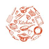 Cooking and Kitchen utensil set. Vector hand drawn isolated objects. Icons in sketch style royalty free illustration