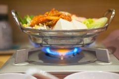 Cooking Korean food tradition stock photo