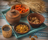 Cooking  kutya is a traditional food on Christmas Eve. Ingredients for cooking traditional meal in eve Christmas Kutya Stock Photography