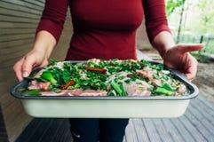 Cooking lamb chops Stock Image