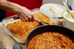 Cooking lasagna at home Royalty Free Stock Images