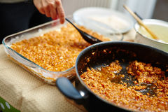 Cooking lasagna at home Stock Photography