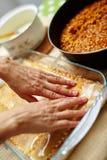 Cooking lasagna at home Royalty Free Stock Image