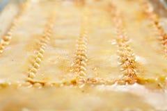 Cooking lasagna at home Stock Images