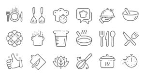Cooking line icons. Boiling time, Frying pan and Kitchen utensils. Linear set. Vector