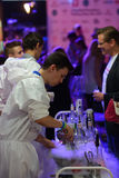 Cooking with liquid nitrogen. Moscow, Russia - July 13, 2014: Cooking with liquid nitrogen on the Wedding Fairy Tail 2014, the wedding festival, exposition, and Royalty Free Stock Photo