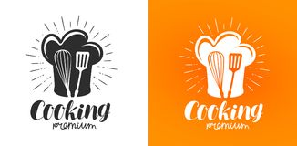 Cooking logo or label. Cuisine, kitchen icon. Lettering vector illustration. Isolated on white background Royalty Free Stock Photo