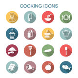 Cooking long shadow icons. Flat vector symbols Stock Photography